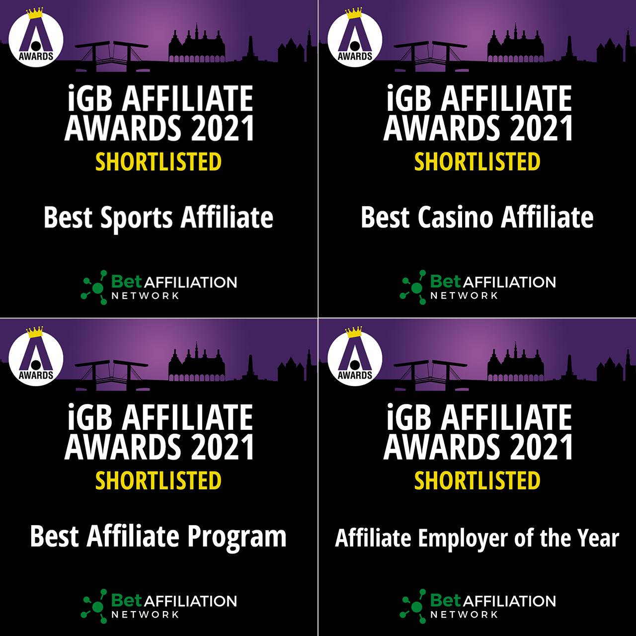 BetAffiliation iGB Affiliate Awards 2021 nominations